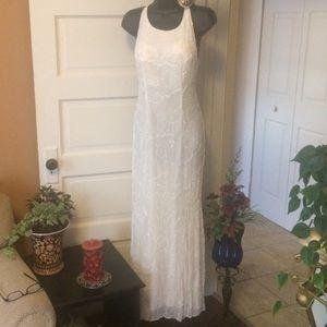 Dresses & Skirts - 90s beaded ivory white long open back dress P XS